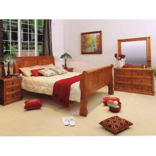 SLEIGH-DM 4PCS QUEEN  BEDROOM SUITE | Wood World Furniture
