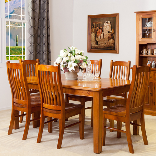 2100L 9PCE STRAIGHT LEGS DINING TABLE SUITE Wooden Furniture Sydney Timber