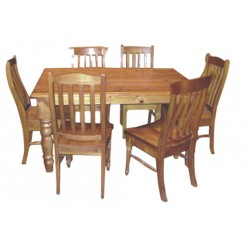9 PCS TURNING LEGS DINING SUITE WITH LOCAL CHAIRS TABLE SIZE 1500 X 1500 OR 21000 X 1050