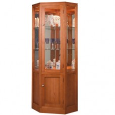 TASSIE OAK HIGH QUALITY HARDWOOD CORNER DISPLAY UNIT / CORNER DISPLAY CABINET