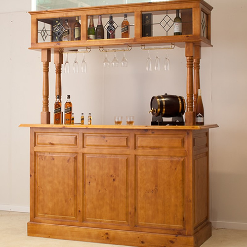 Wood Home Bar Furniture: Discontinued 4 POST HOME BAR [DISCONTINUED] Wooden