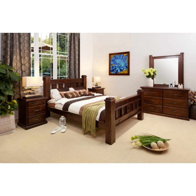 RUSTIC DRESSER QUEEN BEDROOM SUITE Wooden Furniture Sydney Timber Tables