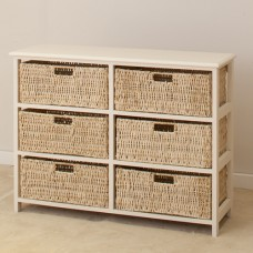 WHITE 6 DRAWERS BASKET