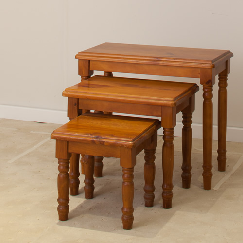 3 PCE TURNING LEG NEST TABLE  | Wood World Furniture
