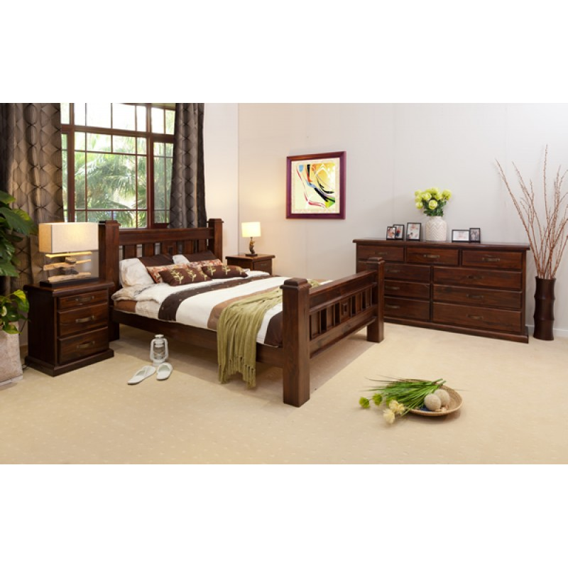 rustic t9 king size bedroom suite wooden furniture sydney