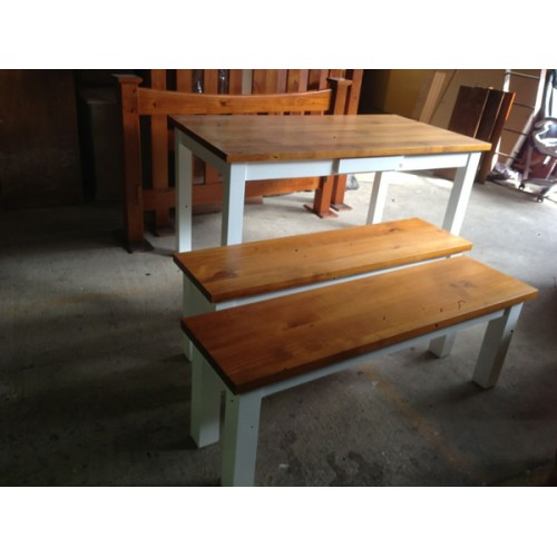 [CUSTOM MADE EXAMPLE] Local make pine dining suite with 2 bench chairs | Wood World Furniture