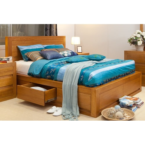 CLAREMONT TASSIE OAK LUXURY DOUBLE BED | Wood World Furniture