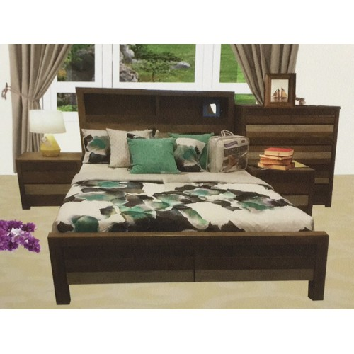 COASTAL-4 HARDWOOD QUEEN BEDROOM SUITE 4 PCE  | Wood World Furniture