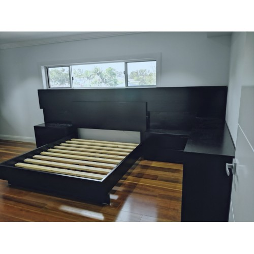 [Custom Made Example] Local made KING size Bed BLACK COLOUR | Wood World Furniture