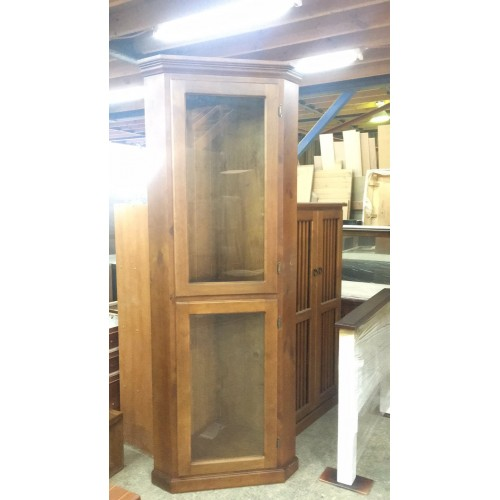 [CUSTOM MADE EXAMPLE] LOCAL MADE PINE CORNER DISPLAY CABINET | Wood World Furniture
