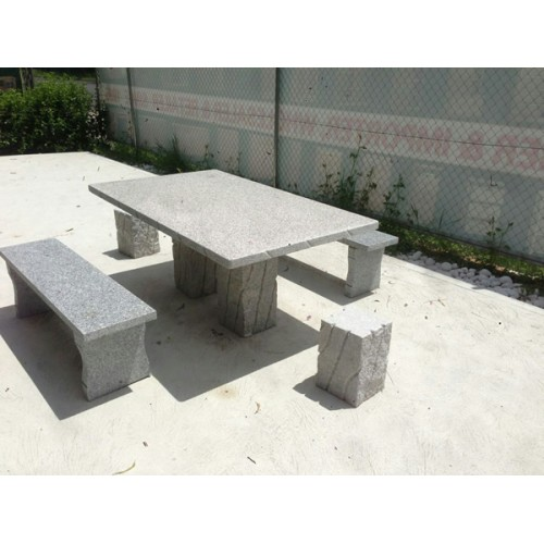 GRANITE STONE SQUARE TABLE 5 PIECE OUTDOOR SETTING | Wood World Furniture