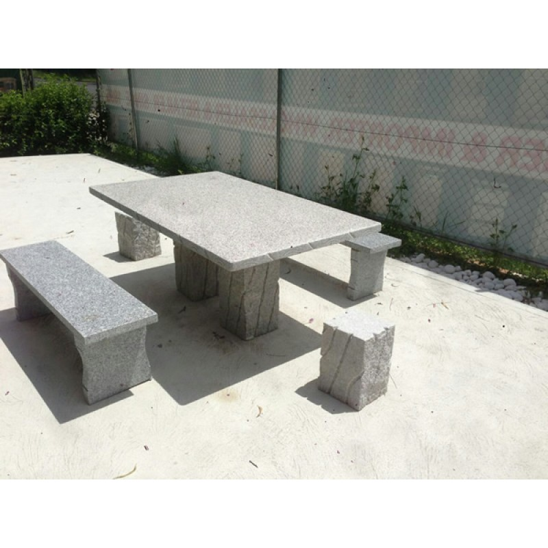 GRANITE STONE SQUARE TABLE 5 PIECE OUTDOOR SETTING Wooden