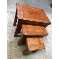 MOUNTAIN ASH LUXURY HIGH END QUALITY 3 PCE NEST TABLE | Wood World Furniture