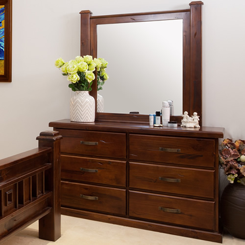 RUSTIC DRESSER WITH MIRROR | Wood World Furniture