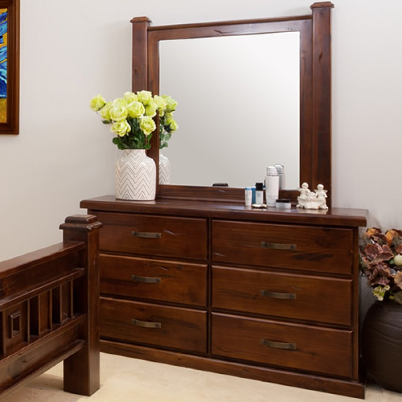 Rustic dresser with mirror wooden furniture sydney for Bedroom furniture sydney