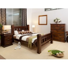 RUSTIC-T6 3 PCE KING SINGLE BEDROOM SUITE