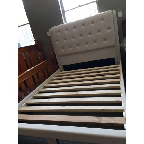 FABRIC QUEEN SIZE BEDFRAME | Wood World Furniture