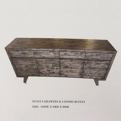SUSAN V 4 DRAWERS & 4 DOORS HARDWOOD BUFFET | Wood World Furniture