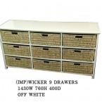 WICKER 9 DRAWERS BASKET