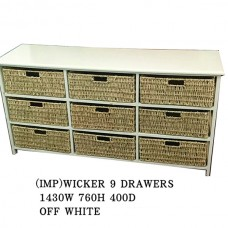 WICKER 9 DRAWERS BASKET