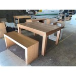 [Custom Made Example] Local made Tassie OAK Table and Bench + Pine Lamp Tables C21-TOTB-LT