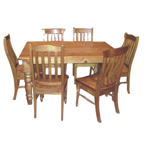 9 PCS TURNING LEGS DINING SUITE WITH LOCAL CHAIRS TABLE SIZE 1500 X 1500 OR 21000 X 1050 | Wood World Furniture