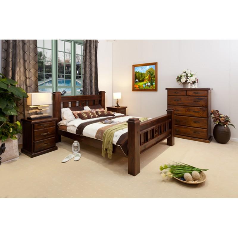 Rustic T6 Queen Bedroom Suite Wooden, Custom Made Bedroom Furniture Sydney