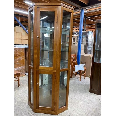 WTO-WCCD TASSIE OAK FULL GLASS HIGH QUALITY HARDWOOD CORNER DISPLAY UNIT / CABINET