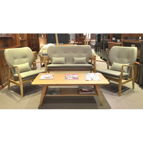 AMERICAN OAK ARMCHAIR KARL 3 PCE SET | Wood World Furniture