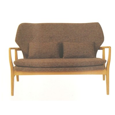 AMERICAN OAK KARL HARDWOOD 2 SEATER SOFA